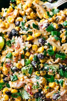 A delicious MEXICAN STREET CORN Pasta salad with tons of veggies, bacon, and a simple creamy CHILI LIME dressing that takes a minute to whip together.