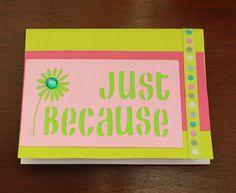 Just because ribbon die cut handmade greeting card by AnLieDesigns, $2.00