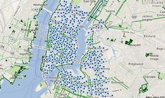 Map of new bike sharing system in NYC. Starts this July! New York City Map, City Maps, New York Travel, Central Park, Nyc, Bike, Urban, Beautiful Places, Graphics