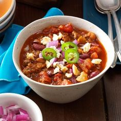 Spicy Touchdown Chili Recipe from Taste of Home -- shared by Chris Neal of Quapaw, Oklahoma