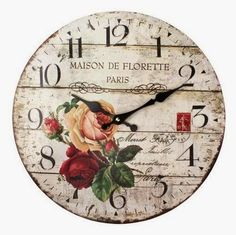 Can be made with decoupage Clock Art, Diy Clock, One Stroke Painting, Painting On Wood, Diy Decoupage Wall, Clock Face Printable, Shabby Chic Clock, Farm Crafts, Cool Clocks