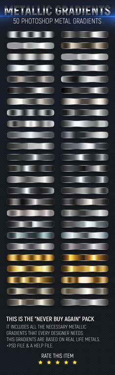 50 Metal Gradients - #Textures / Fills / #Patterns #Photoshop