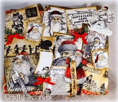 Altered Santa Canvas using new Crafty Secrets Vintage Santa Digital Stamps with over 50 designs! Tutorial by Darlene Pavlick explaining how she created her canvas.