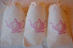 10 Tea Party Favor Bags - Vintage Teapot Organic Cotton Gift Bags 3x5 in Pink