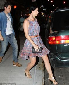 Katy Perry wearing Chanel Wallet Purse on a Chain and Isabel Marant Vally Paisley Silk Gauze Dress.
