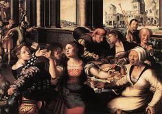 ***Jan van Hemessen. La parábola del hijo pródigo, 1536. Bruselas, Museos Reales de Bellas Artes de Bélgica. La Parábola del Hijo Pródigo también de tipo Moral, se encuentra representada en las miniaturas. Durante el Renacimiento llega al resto de las artes, reproduciéndose su vida disipada, llena de excesos, propias del gusto profano y burgués del S.XVI como vemos en esta representación.