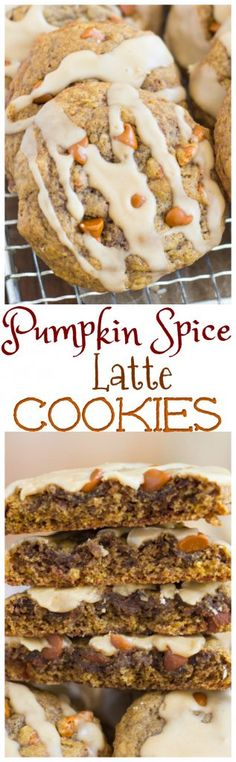 Chewy (not-cakey!) pumpkin cookies, loaded with spice, flavored with coffee, and drizzled with a coffee glaze! These Pumpkin Spice Latte Cookies are your favorite fall beverage in cookie form.