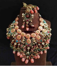 Excited to share this item from my shop: VeroniQ Trends-Royal Look Kundan Necklace With Engraving Meenakari Work in Pink and Gold Work-SJ-Bridal,Wedding ,Engagement,Party,Functio Indian Jewelry Earrings, Indian Jewelry Sets, Silver Jewellery Indian, Indian Wedding Jewelry, Bridal Jewelry Sets, Bridal Jewellery, Pink Earrings, Rajput Jewellery, Girls Earrings