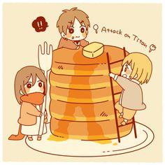 chibi!Mikasa, chibi!Eren, & chibi!Armin ~ pancake breakfast