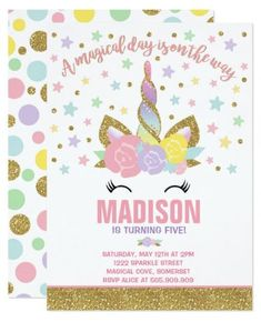Rainbow Unicorn Birthday Invitation Pink and Gold. Unicorn birthday Invitation. A perfect Way to announce your Magical Unicorn party!