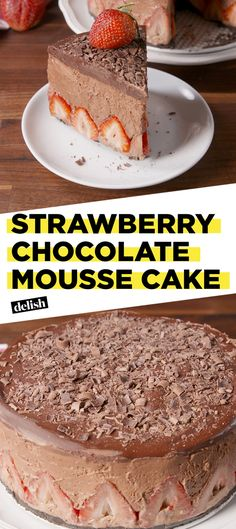 This Strawberry Chocolate Mousse Cake is the most decadent thing you'll ever eat. Get the recipe at Delish.com. #delish #easyrecipe #recipe #chocolate #cake #strawberry #mousse #dessert