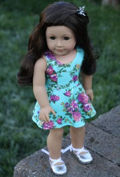 American Girl Doll Clothes  Turquoise Floral by Closet4Chloe