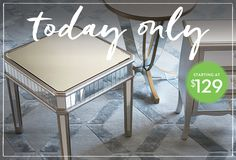 It's a Steal!: Lowest Prices on Mirrored Tables Mirrored Side Tables, Mirrored Nightstand, Petunias, Vanity Bench, Kings Lane, Furniture, Check, Home Decor, Decoration Home
