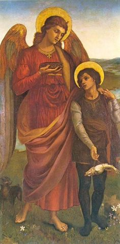 Tobias and the Angel - Evelyn de Morgan note fish bundle knotted at knees John Everett Millais, San Rafael, I Believe In Angels, My Guardian Angel, John William Waterhouse, Angels Among Us, Pre Raphaelite, Angel Art, Sacred Art