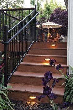 TimberTech Deck in Harvest Bronze with built-in lighting on the stair risers. Sebastopol, CA