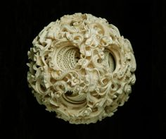 """treasures-and-beauty: """"Ivory Puzzle Ball, China """" Chinese Painting, Chinese Art, China, Le Morse, Dragons Tumblr, Ivory Elephant, Chinese Dragon, Bone Carving, Weird And Wonderful"""