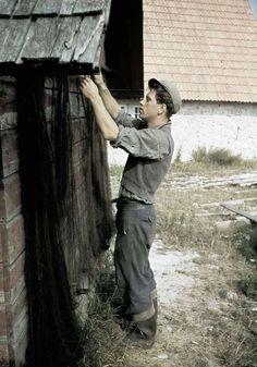 """1938. En man hänger upp fisknät på en bodgavel. """"Katthammarsvik"""" Fotograf: Lundh, Gunnar"""