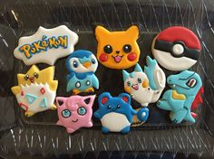 Custom Cookies Pokemon For more info on how to order please visit my FB page and send me a message www.facebook.com/busybeecakery Or email me: malinda@busybeecakery.com