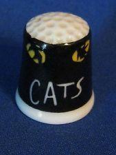 Vintage Cats Musical Porcelain Thimble  1983 Roman Inc