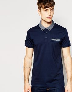 Image 1 of Jack & Jones Polo Shirt with Contrast Geo Jacquard Collar & Pocket