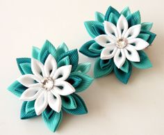 Kanzashi  Fabric Flowers. Set of 2 hair clips. Teal and от JuLVa