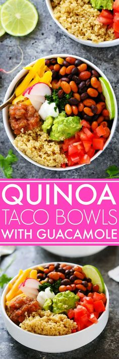 These Quinoa Taco Bowls with Guacamole make a quick and healthy vegetarian meal that comes together in under 30 minutes. | platingsandpairings.com