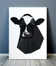 Gorgeous Farm animal poster for your home and office. Amazing Cow decor. Adorable Animal print. Pretty modern Geometry print. SIZES: A4 (8.3 x