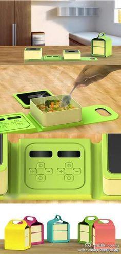 【可以携带的可加热便当饭盒】有采用磁感应加热器加热食物烹饪加热器,不用插上电就可以使用,走到哪都可以热,是不是很酷呢!