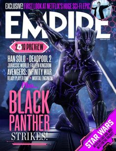 Black Panther Rocks Neon Purple Vibranium Suit in New Empire Magazine Cover
