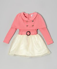 Take a look at this Pink & White Cape Dress - Toddler & Girls by Blossom Couture on #zulily today!