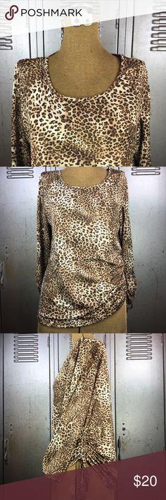 Scoop Neck Leopard Long Sleeve Shirt. Scoop Neck Leopard Long Sleeve Shirt. 96% polyester, 4% spandex. Kim Rogers Tops Tunics