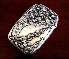 KERR Sterling Silver MATCH SAFE CASE BOX Victorian ART NOUVEAU Antique  BEAUTIFUL HIGH RELIEF DAISIES!!~~~~~CIRCA 1908!!
