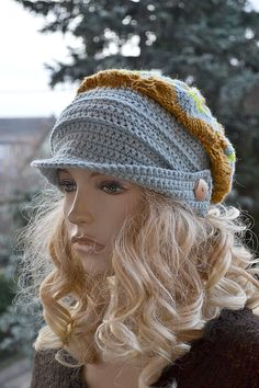 Crocheted knitted beanie Slouchy Hat  PEAKED CAP by DosiakStyle