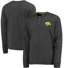 Iowa Hawkeyes Colosseum Fahrenheit Long Sleeve Henley T-Shirt - Heathered Black