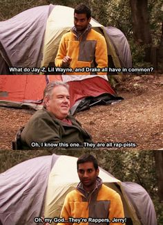 """Parks & Recreation Season Three Episode 8: Camping-- """"Oh my God, they're rappers, Jerry!"""""""