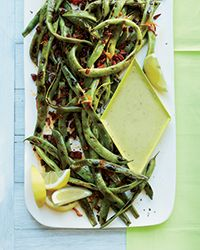 Cast-Iron-Grilled Romano Beans with Garlic Aioli | Food & Wine