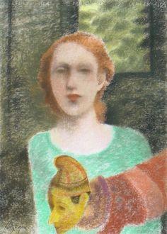 Jorge Alzaga, Títere, pastel sobre papel, 70 x 50 cm.