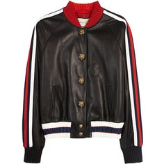 GUCCI Lurex-trimmed Leather Bomber Jacket - Size 8 ($2,915) ❤ liked on Polyvore featuring outerwear, jackets, embroidered jacket, gucci jacket, cropped jacket, leather flight jacket and leather bomber jackets
