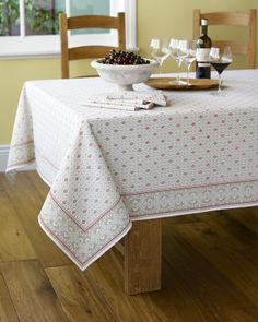 Marseille Tablecloth #williamssonoma Yes!  Finally - the right tablecloth for that room once we paint.