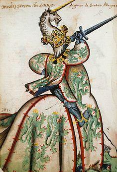 Hugues de Lannoy, Grand Armorial équestre de la Toison d'Or, Flandres, 1430-1461.