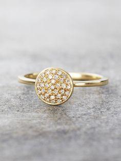 14K Gold Pave Diamond Disk Ring