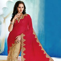 #Red and Beige Faux Georgette and Net #Saree