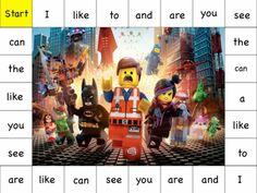 FREE Printable Sight Word Games   (My Little Pony, Lego Movie, Ninja Turtle themes)
