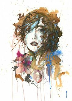 Carne-Griffiths [ink tea & pigment pens on watercolour paper] #mixed #media #art