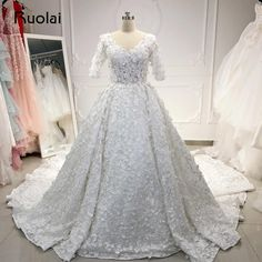 Luxury Wedding Dresses 2019 Half Sleeve Dubai Wedding Gown Long Train  Pearls 3D Flower Lace Bridal Gown Vestido de Noiva RW24 23a7a961256f
