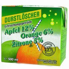 Durstlöscher Apfel Orange Zitrone 500ml Erfrischungsgetränk aus Fruchtsaftkonzentrat mit Apfel-, Orangen- und Zitronen-Geschmack. Im Trinkpack mit Strohhalm.