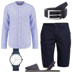 008c27546e Outfit casual, composto da camicia celeste a maniche lunghe e collo alla  coreana abbinata ad