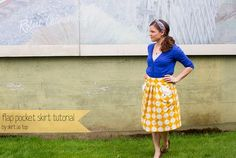 flap pocket skirt for vintage may by skirt_as_top, via Flickr  (tutorial for modifying a Simplicity skirt pattern--good insights)