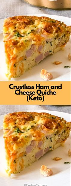 Crustless Ham and Cheese Quiche (Keto) - Brunch Recipes Ham And Cheese Quiche, Keto Quiche, Quiche Recipes, Brunch Recipes, Quiche Crustless, Healthy Quiche, Frittata, Quiche Ideas, Ham And Cheese Casserole
