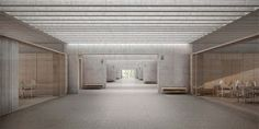 primary school with gym by Architecture Drawings, Interior Architecture, Memorial Architecture, Halle, New Museum, Interior Rendering, Interior Stairs, Design Museum, Brutalist